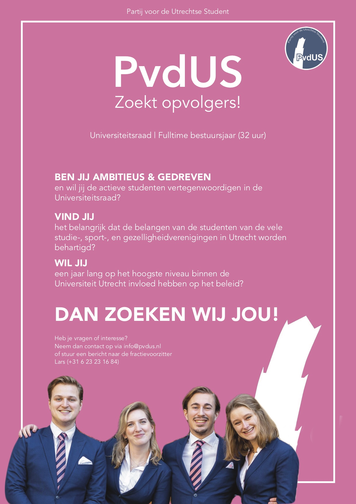 Poster werving PvdUS